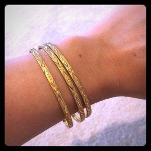 Jewelry - Three Ornate Gold Bangles